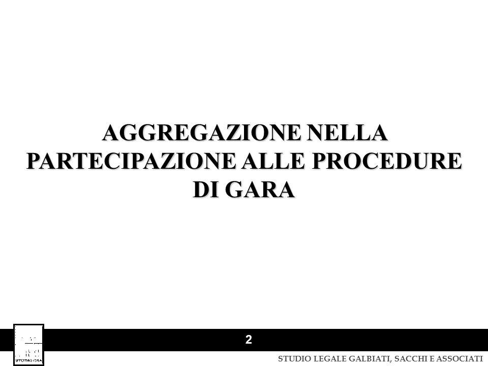AGGREGAZIONE NELLA PARTECIPAZIONE ALLE PROCEDURE DI GARA