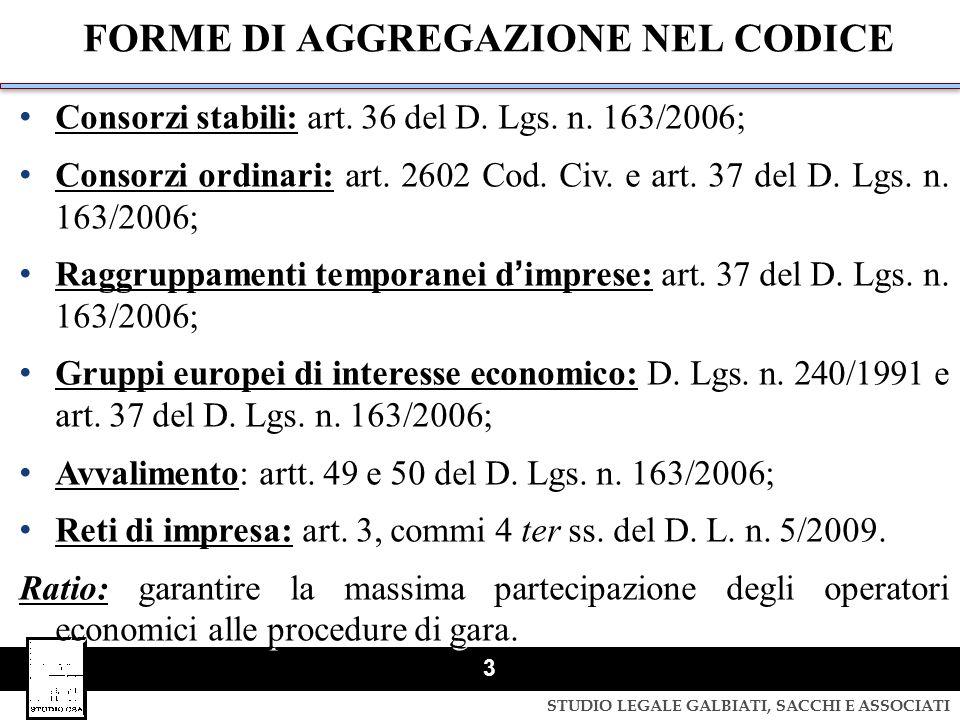 FORME DI AGGREGAZIONE NEL CODICE