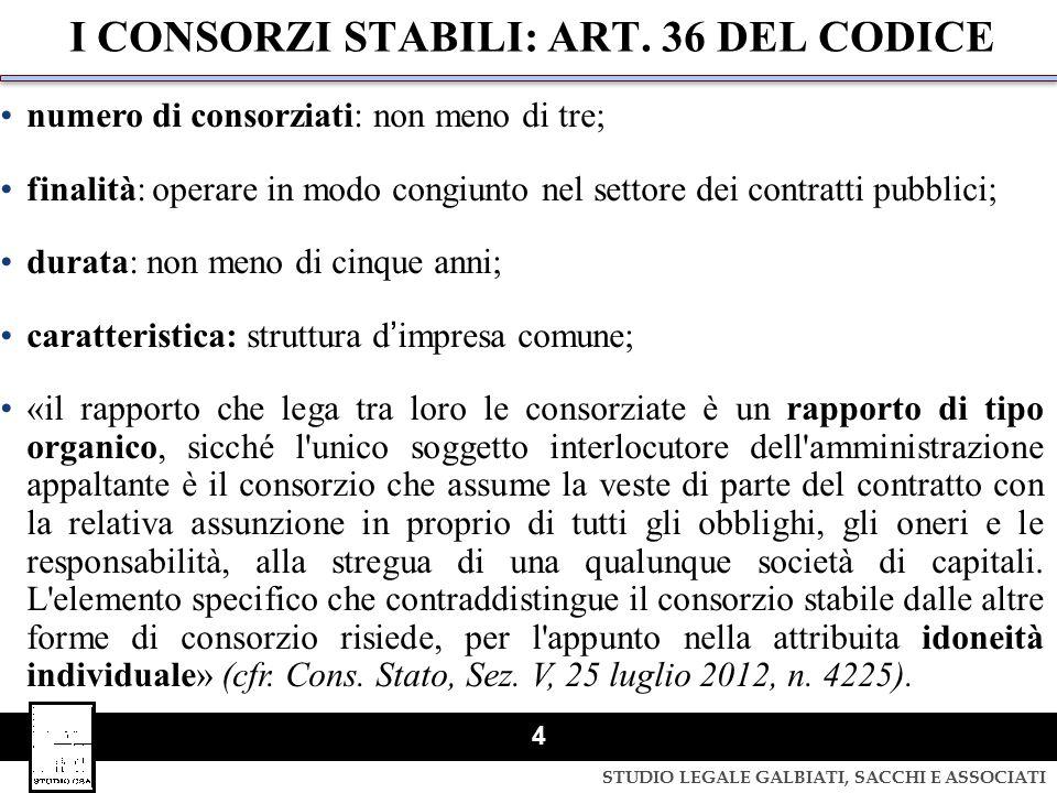 I CONSORZI STABILI: ART. 36 DEL CODICE