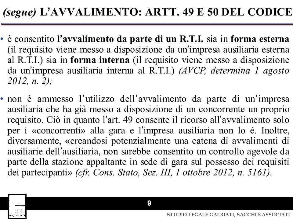 (segue) L'AVVALIMENTO: ARTT. 49 E 50 DEL CODICE