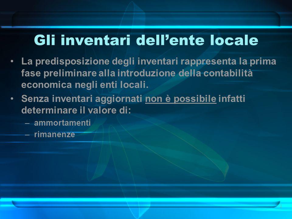 Gli inventari dell'ente locale