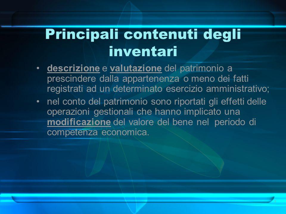 Principali contenuti degli inventari