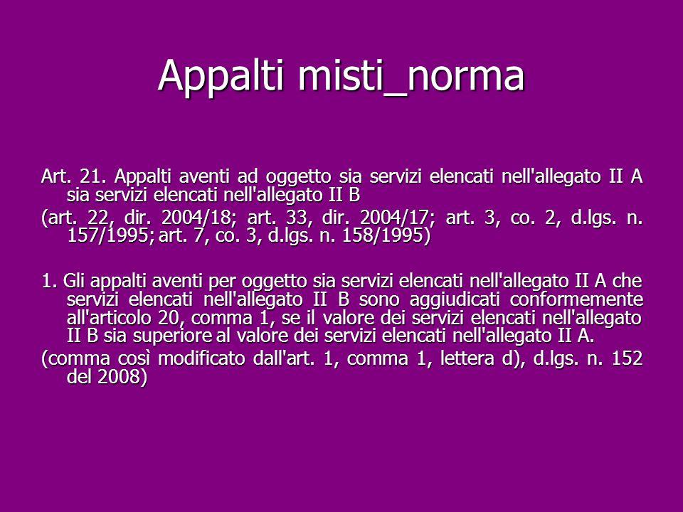 Appalti misti_norma Art. 21. Appalti aventi ad oggetto sia servizi elencati nell allegato II A sia servizi elencati nell allegato II B.