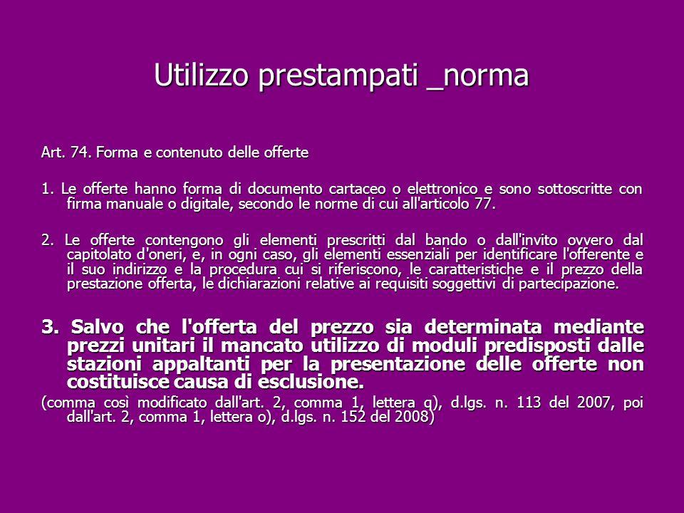 Utilizzo prestampati _norma