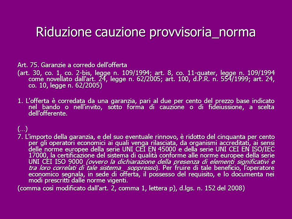 Riduzione cauzione provvisoria_norma