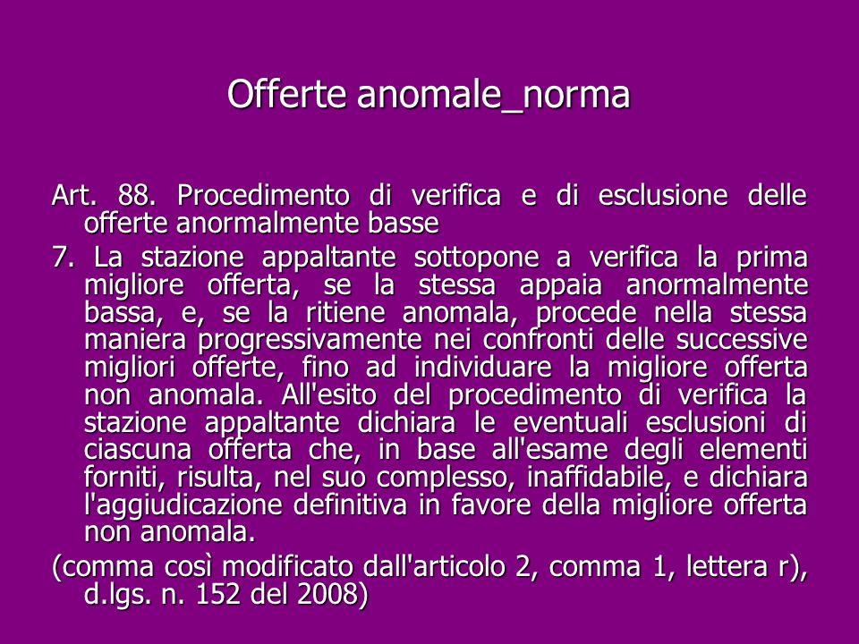 Offerte anomale_norma