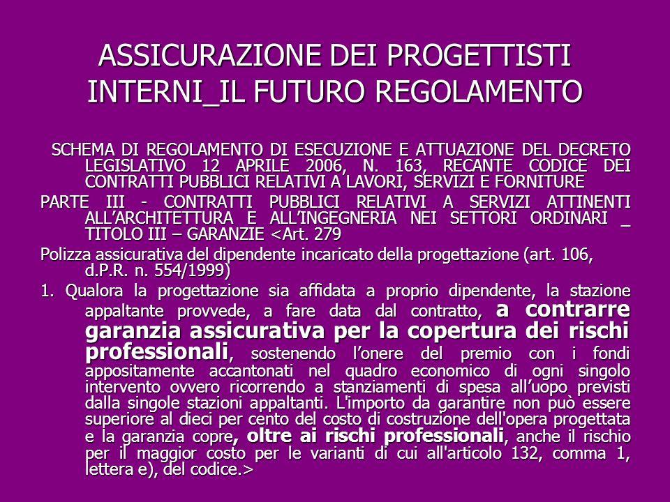ASSICURAZIONE DEI PROGETTISTI INTERNI_IL FUTURO REGOLAMENTO
