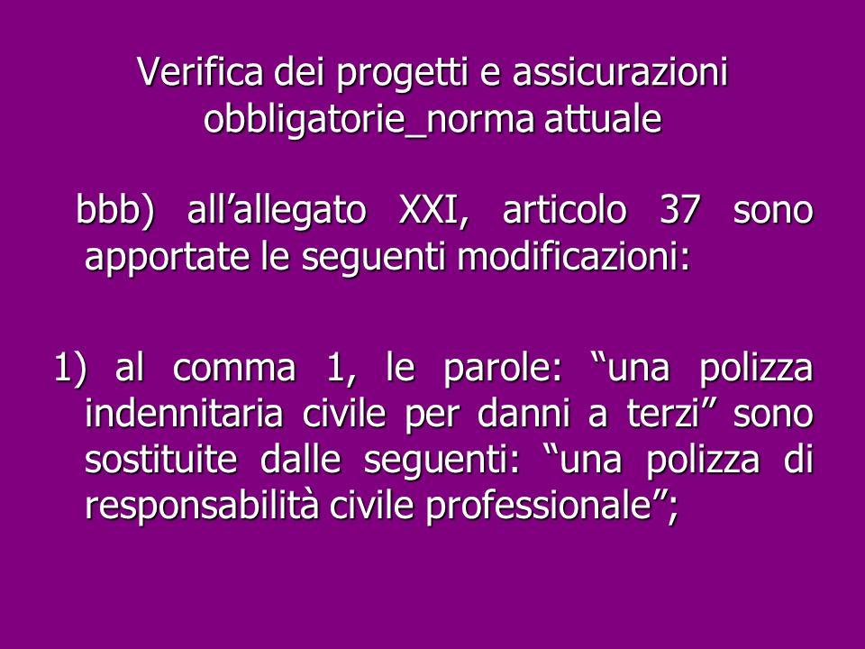 Verifica dei progetti e assicurazioni obbligatorie_norma attuale