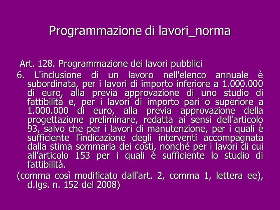 Programmazione di lavori_norma