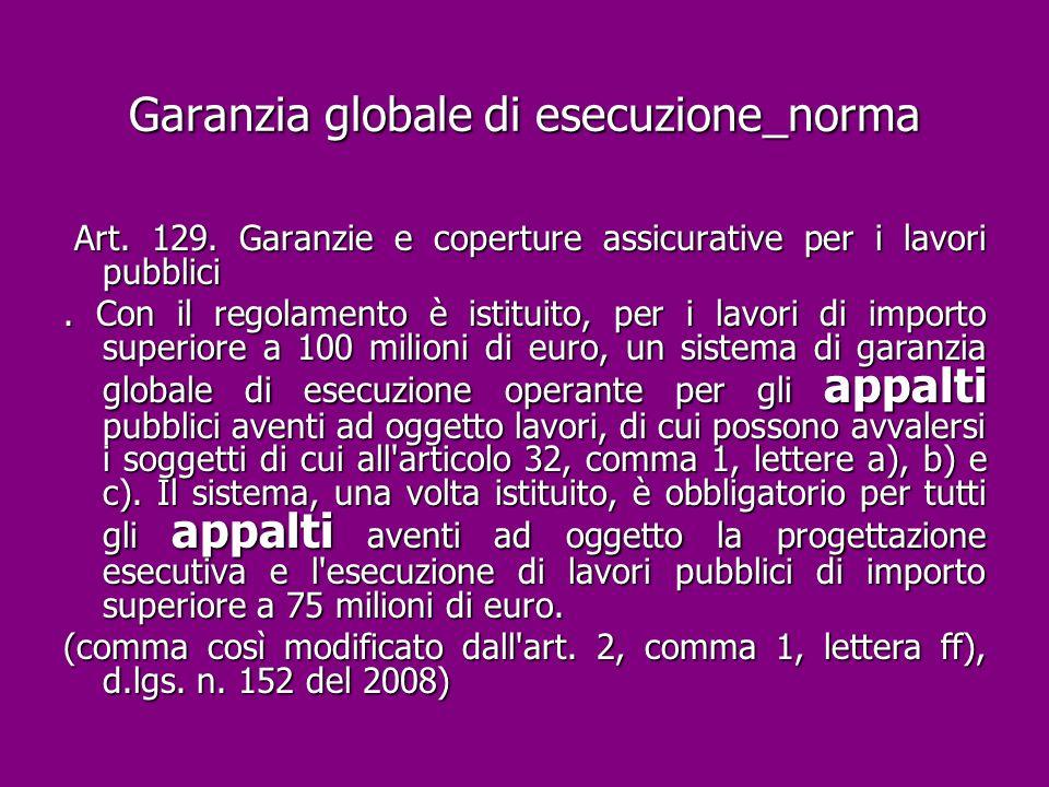 Garanzia globale di esecuzione_norma