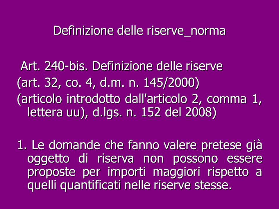 Definizione delle riserve_norma