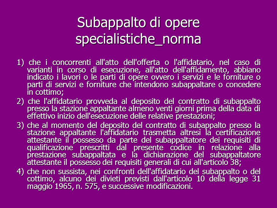 Subappalto di opere specialistiche_norma