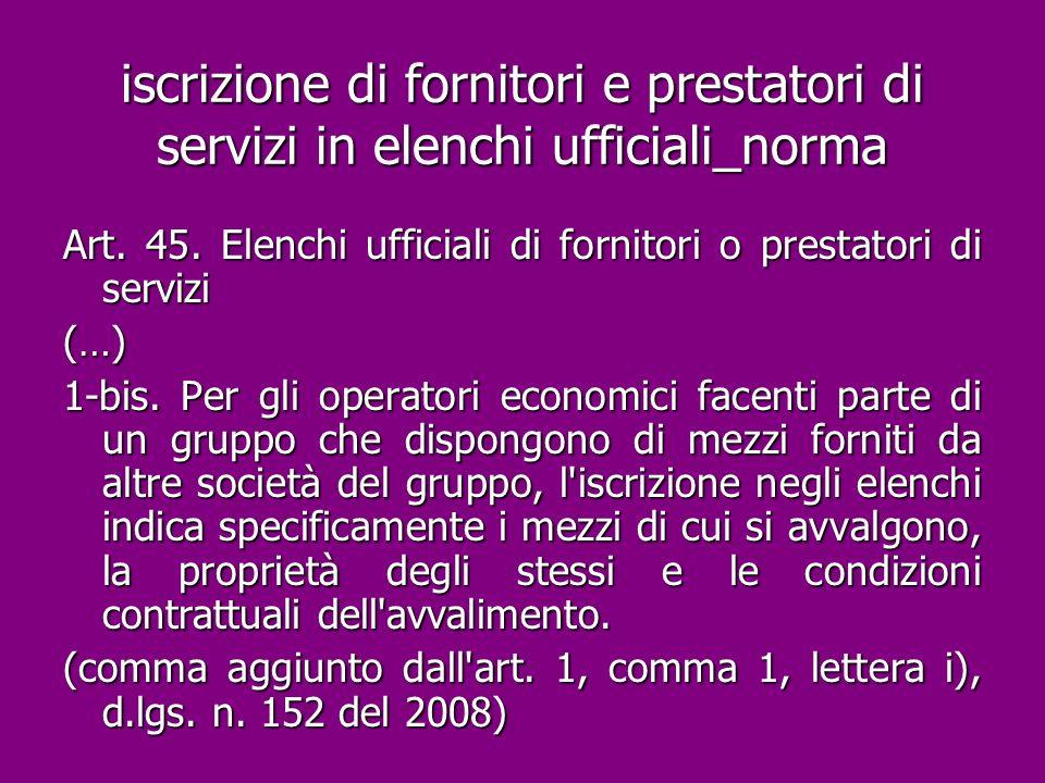 iscrizione di fornitori e prestatori di servizi in elenchi ufficiali_norma