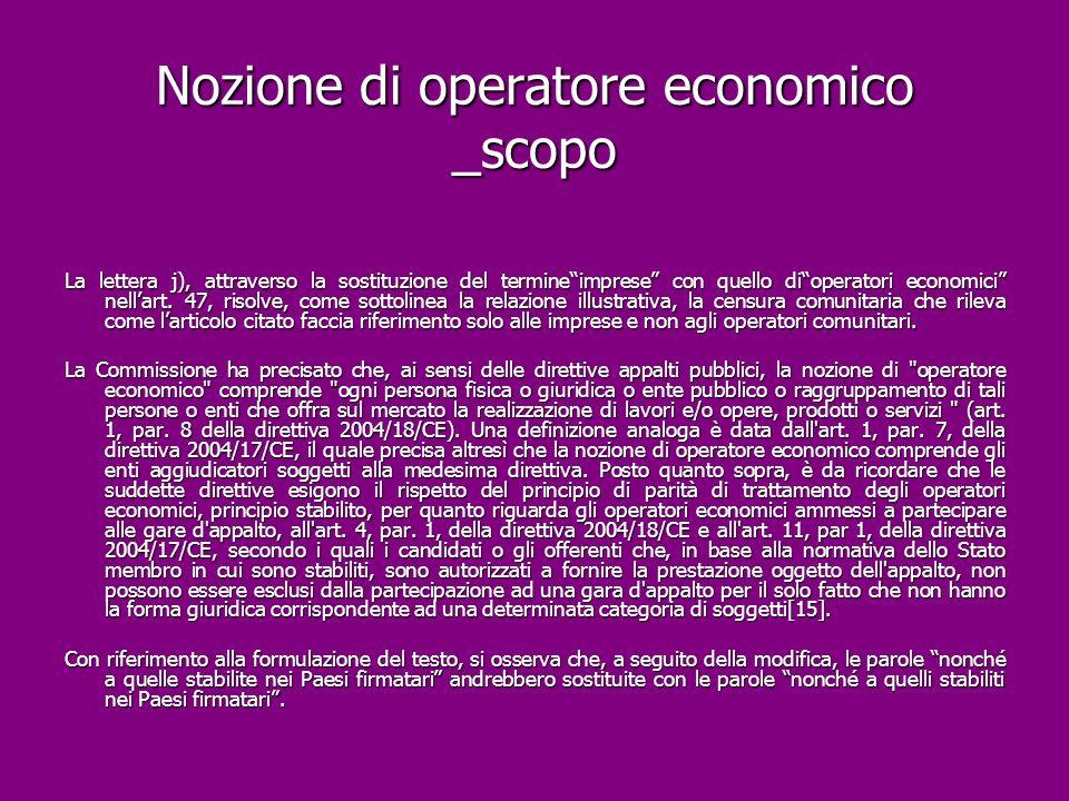 Nozione di operatore economico _scopo