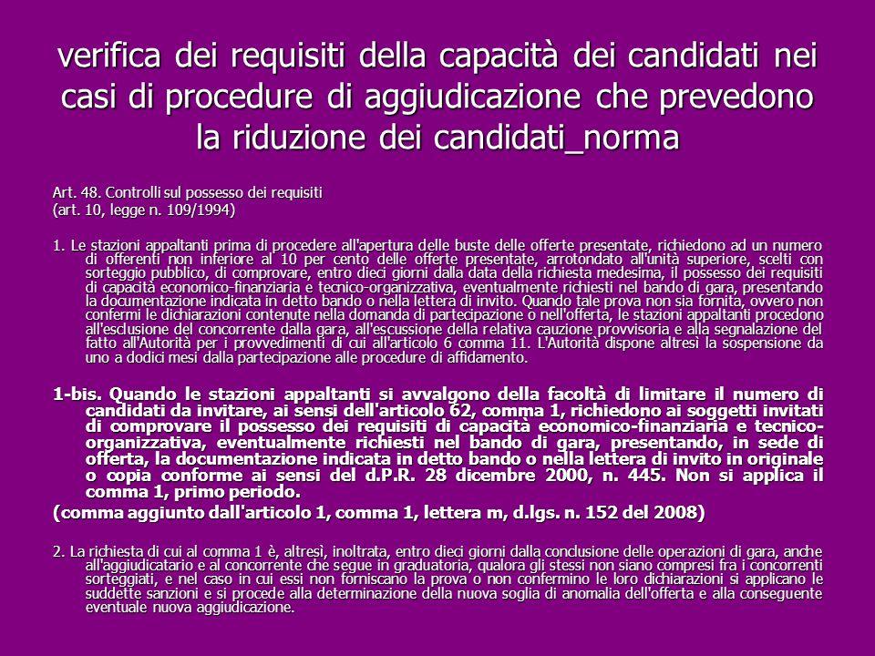 verifica dei requisiti della capacità dei candidati nei casi di procedure di aggiudicazione che prevedono la riduzione dei candidati_norma