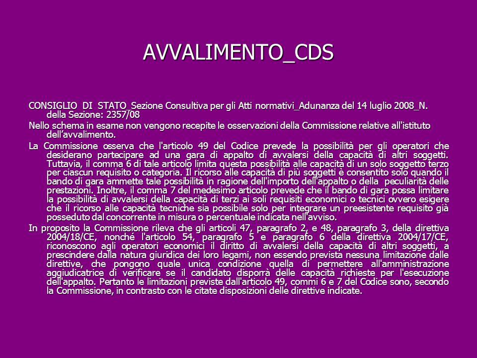 AVVALIMENTO_CDS CONSIGLIO DI STATO_Sezione Consultiva per gli Atti normativi_Adunanza del 14 luglio 2008_N. della Sezione: 2357/08.