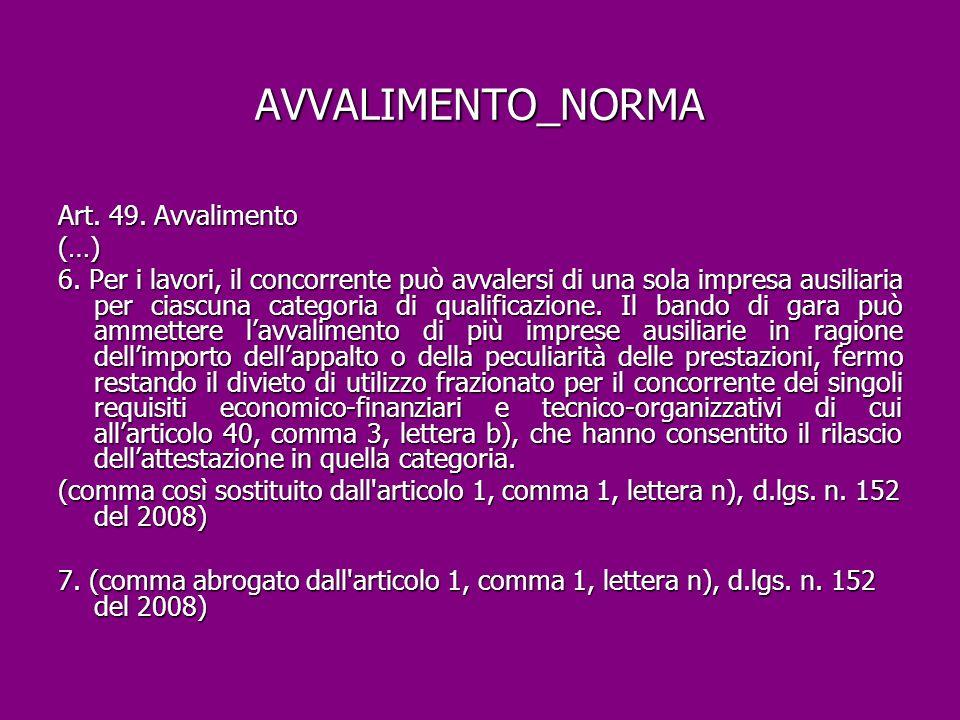 AVVALIMENTO_NORMA Art. 49. Avvalimento (…)