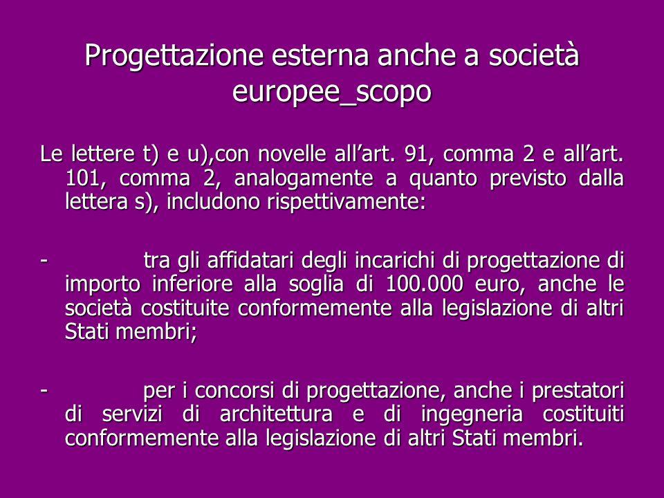 Progettazione esterna anche a società europee_scopo