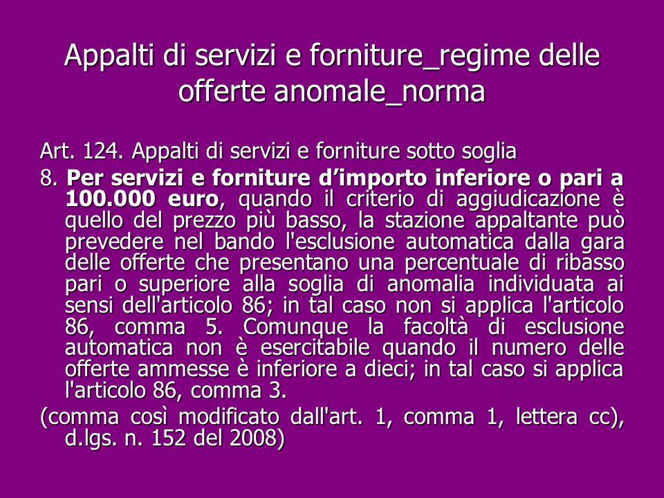 Appalti di servizi e forniture_regime delle offerte anomale_norma