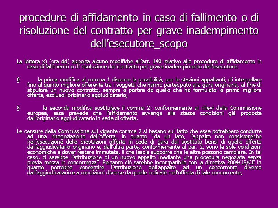 procedure di affidamento in caso di fallimento o di risoluzione del contratto per grave inadempimento dell'esecutore_scopo