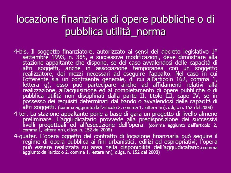 locazione finanziaria di opere pubbliche o di pubblica utilità_norma