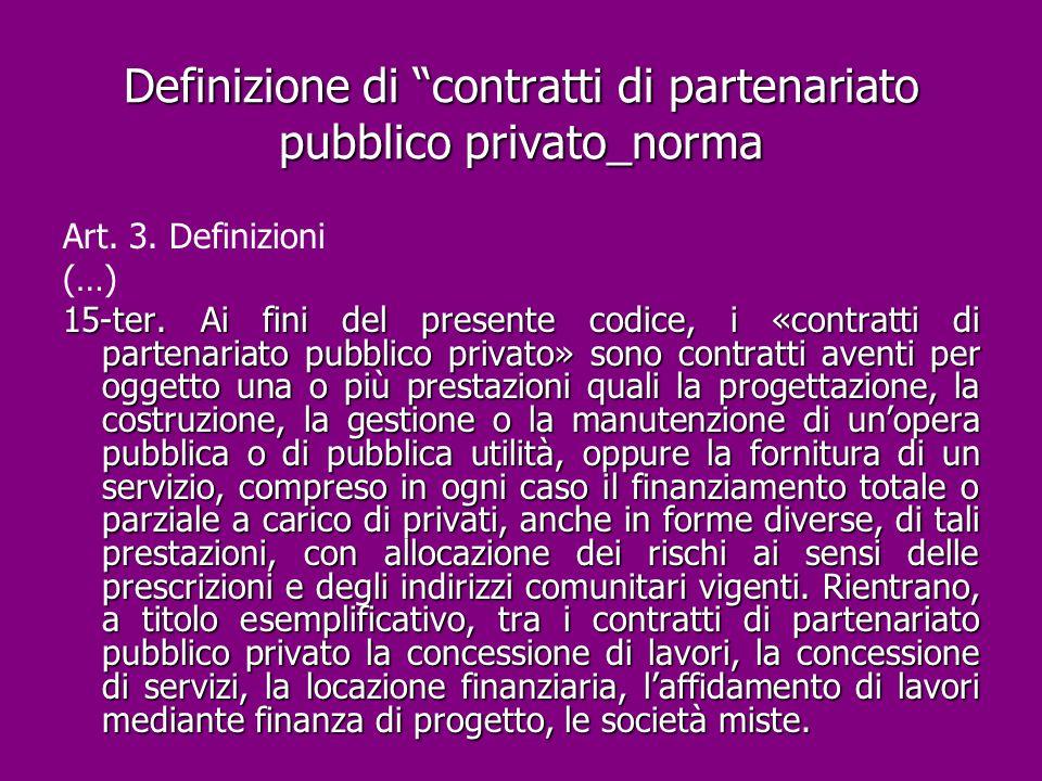Definizione di contratti di partenariato pubblico privato_norma