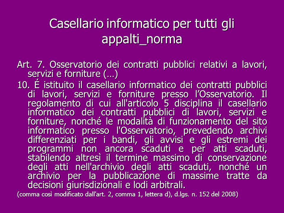 Casellario informatico per tutti gli appalti_norma