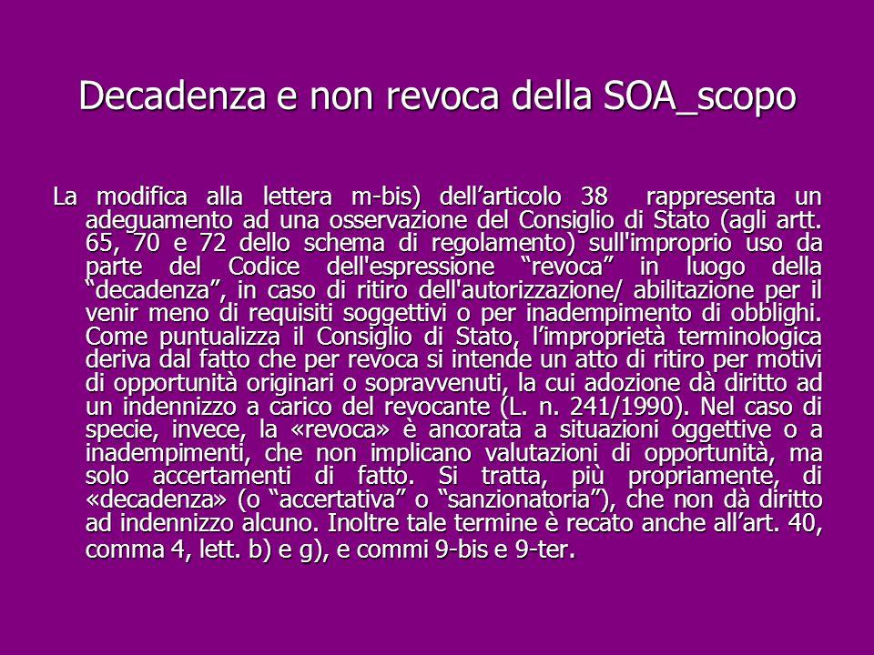 Decadenza e non revoca della SOA_scopo