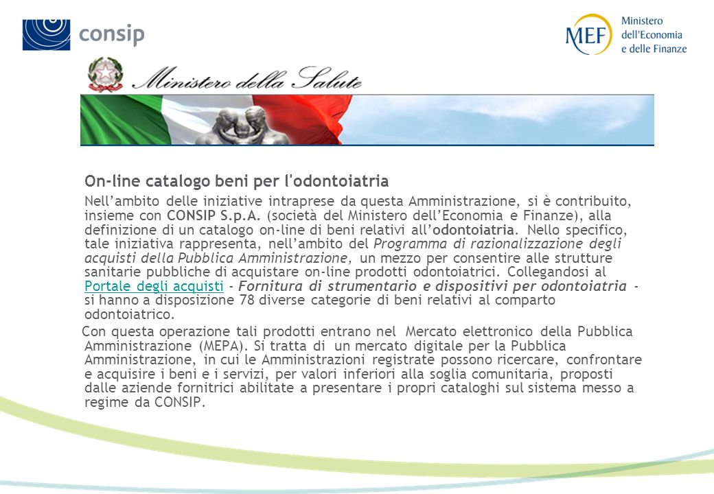 On-line catalogo beni per l odontoiatria