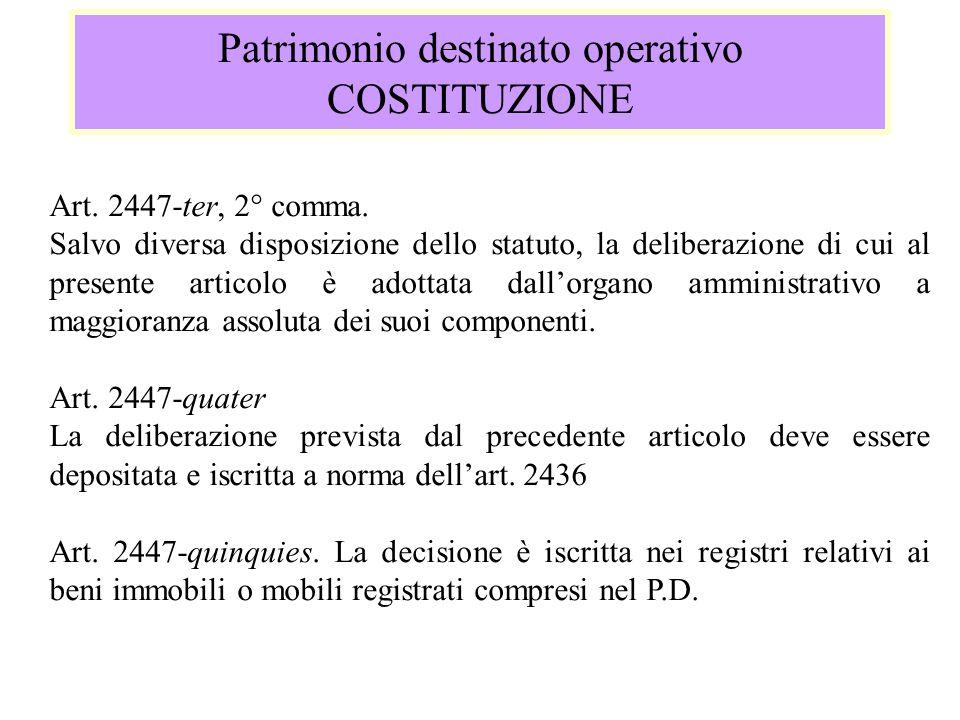 Patrimonio destinato operativo COSTITUZIONE