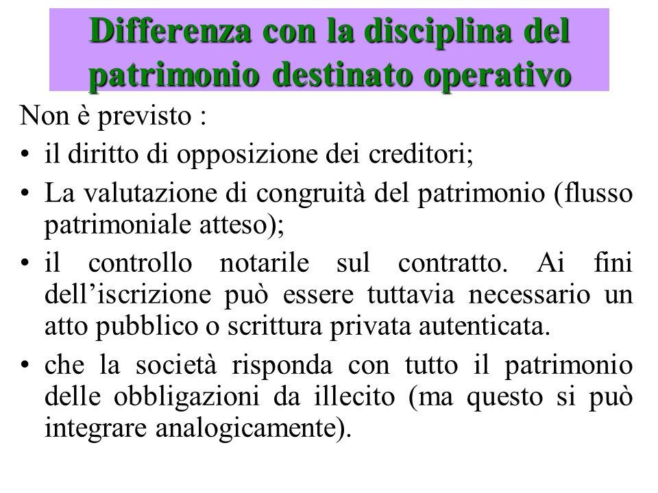 Differenza con la disciplina del patrimonio destinato operativo