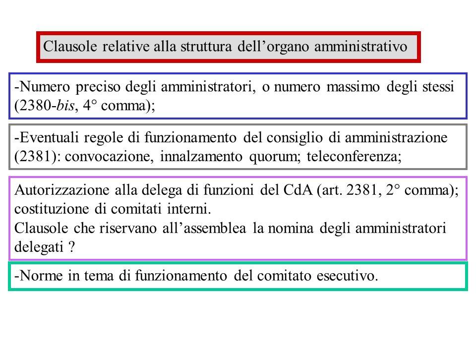 Clausole relative alla struttura dell'organo amministrativo