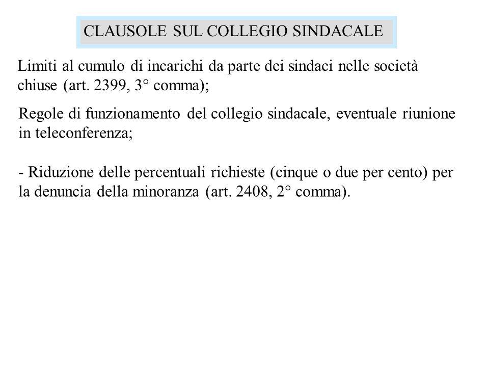 CLAUSOLE SUL COLLEGIO SINDACALE