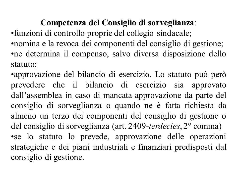 Competenza del Consiglio di sorveglianza: