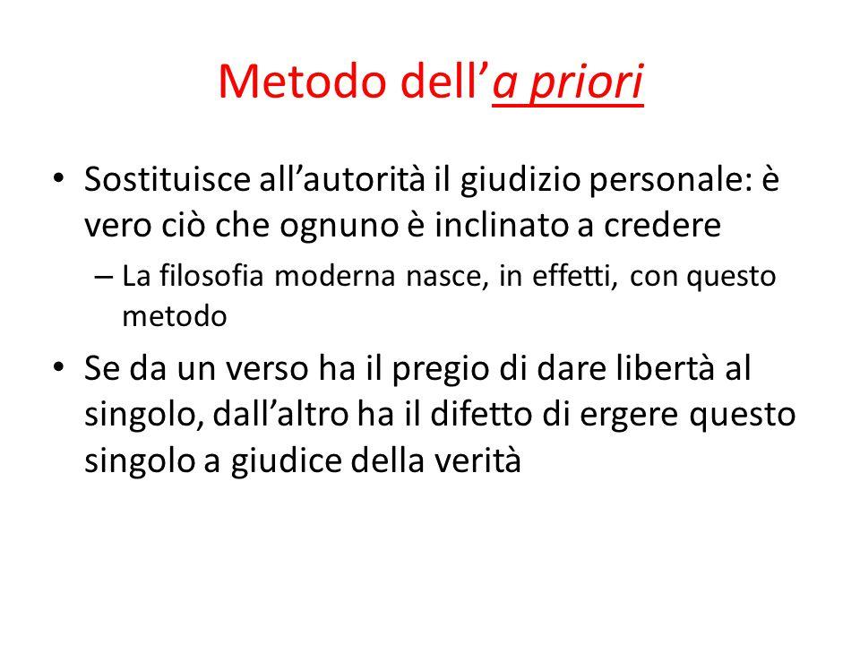 Metodo dell'a priori Sostituisce all'autorità il giudizio personale: è vero ciò che ognuno è inclinato a credere.