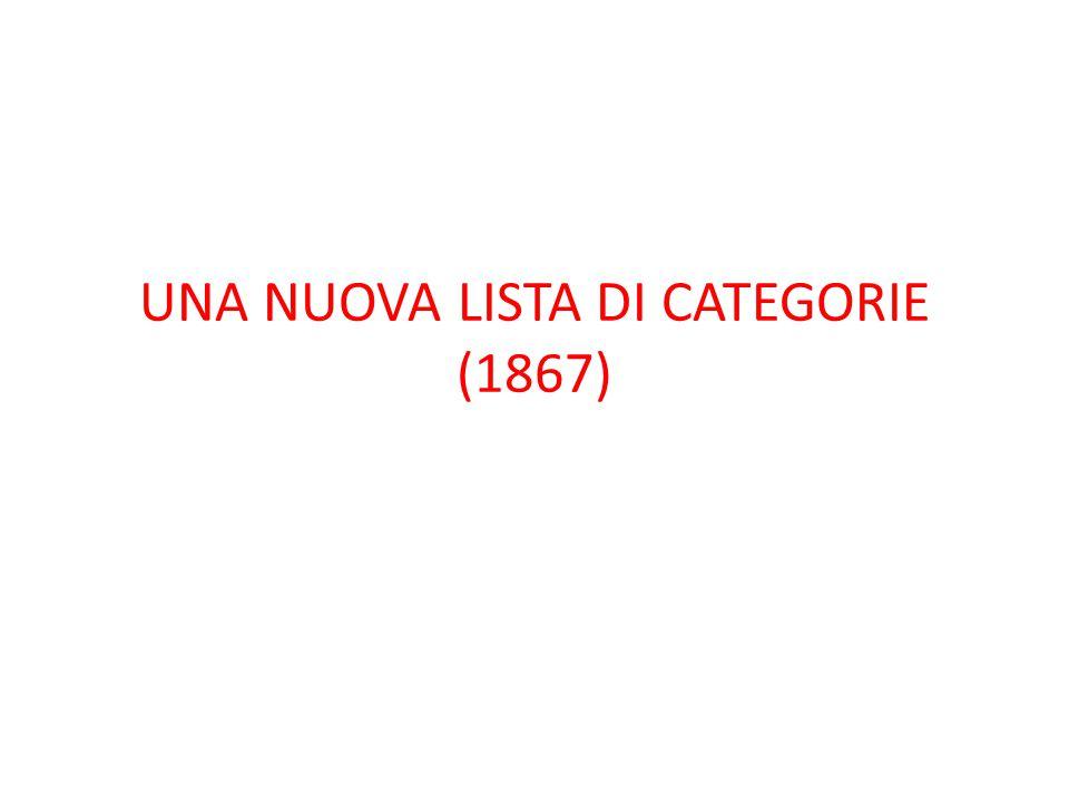 UNA NUOVA LISTA DI CATEGORIE (1867)