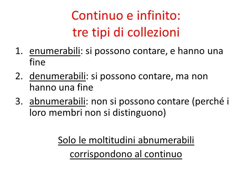 Continuo e infinito: tre tipi di collezioni