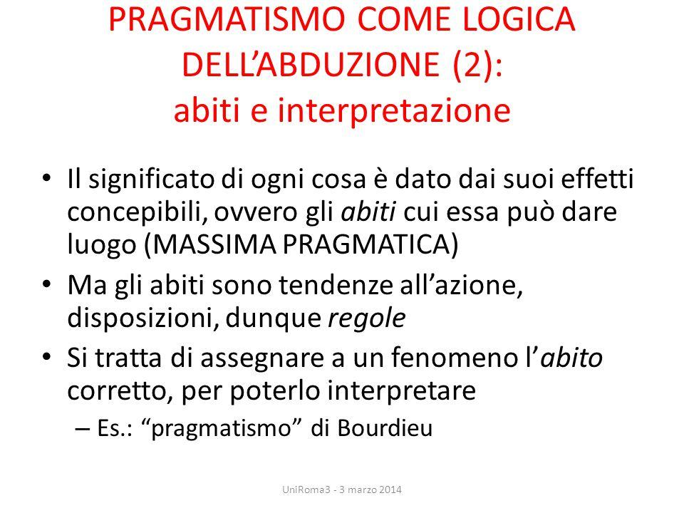 PRAGMATISMO COME LOGICA DELL'ABDUZIONE (2): abiti e interpretazione