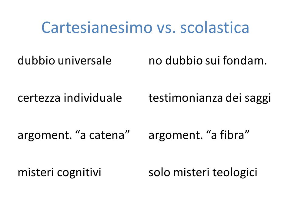 Cartesianesimo vs. scolastica