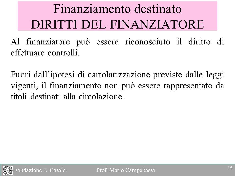 Finanziamento destinato DIRITTI DEL FINANZIATORE