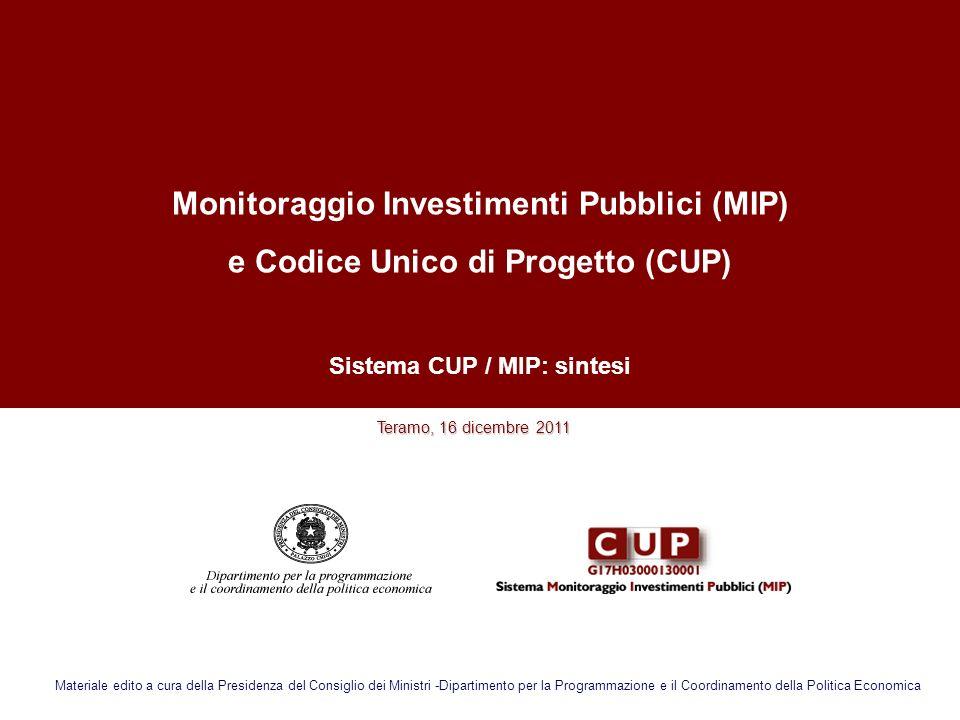 Monitoraggio Investimenti Pubblici (MIP)