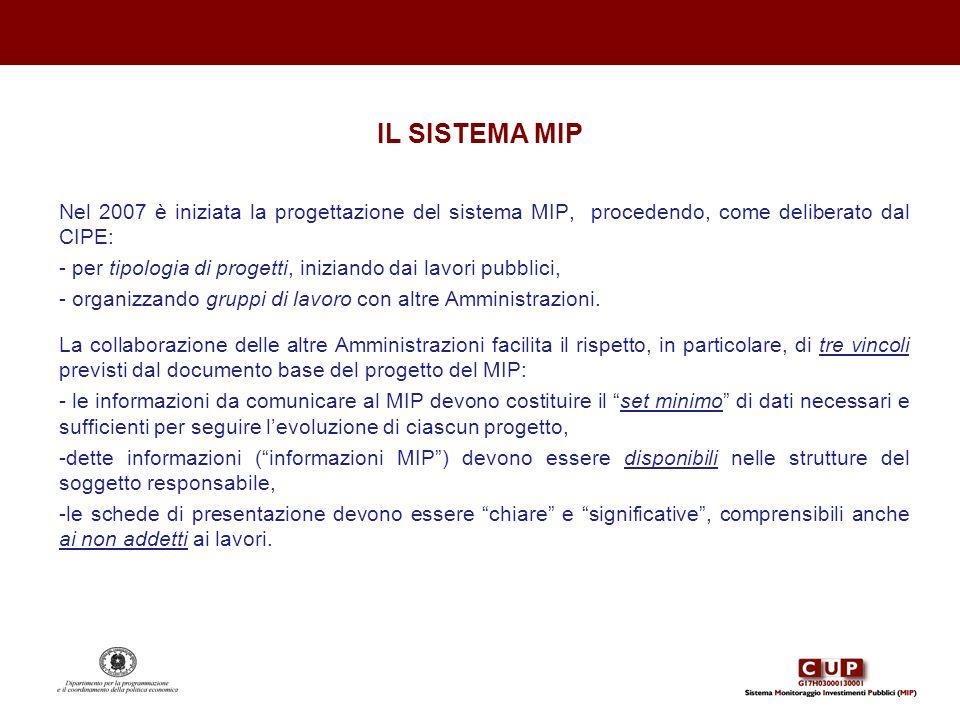 IL SISTEMA MIP Nel 2007 è iniziata la progettazione del sistema MIP, procedendo, come deliberato dal CIPE: