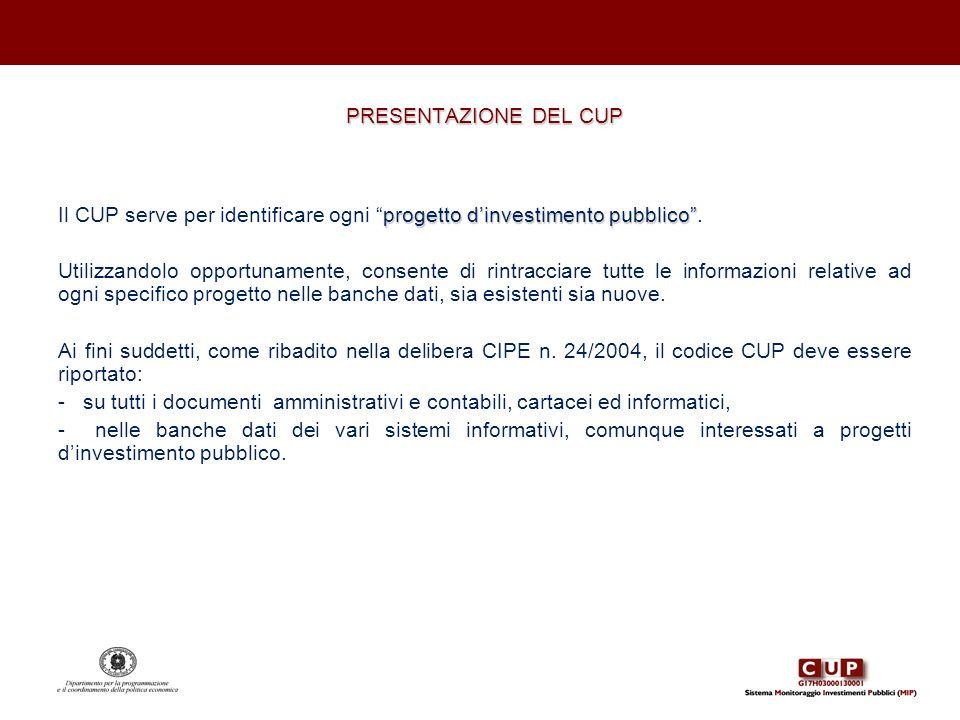 PRESENTAZIONE DEL CUP. Il CUP serve per identificare ogni progetto d'investimento pubblico .