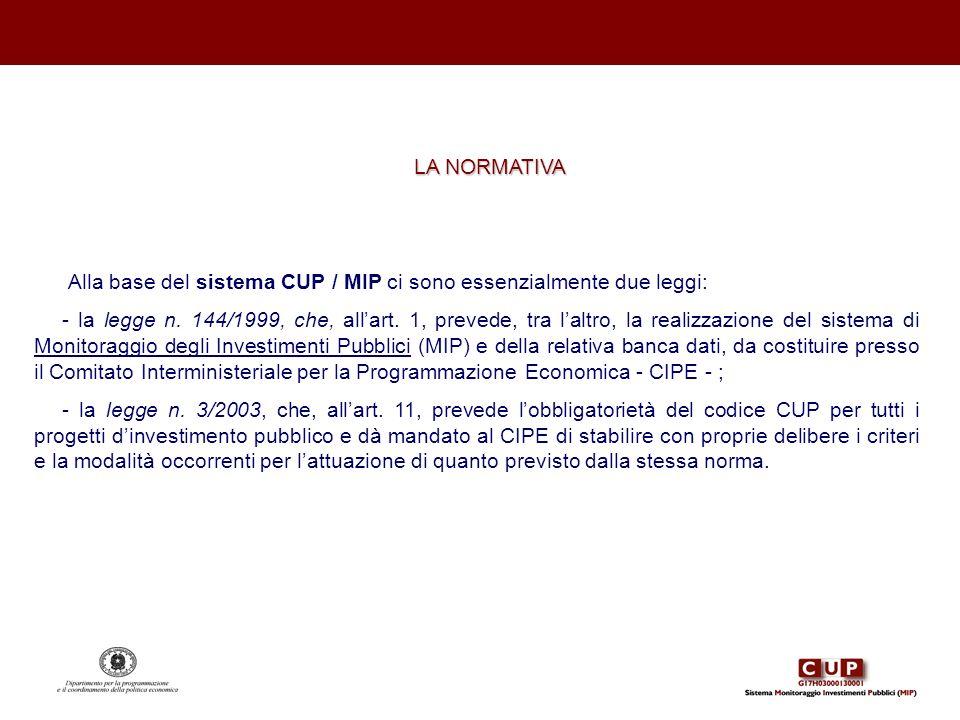 LA NORMATIVA Alla base del sistema CUP / MIP ci sono essenzialmente due leggi: