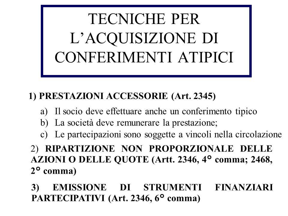 TECNICHE PER L'ACQUISIZIONE DI CONFERIMENTI ATIPICI