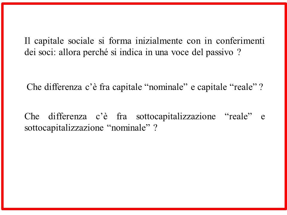Il capitale sociale si forma inizialmente con in conferimenti dei soci: allora perché si indica in una voce del passivo