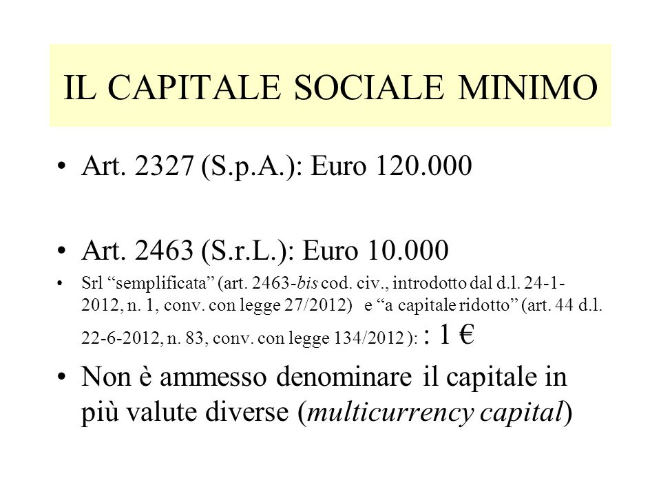 IL CAPITALE SOCIALE MINIMO