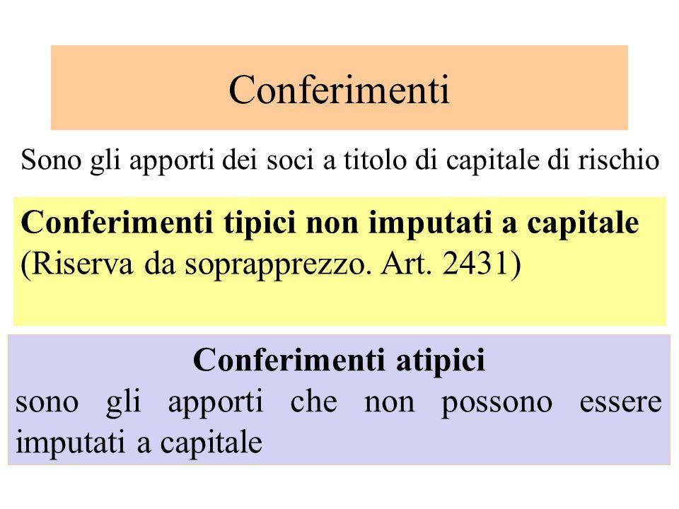 Conferimenti Conferimenti tipici non imputati a capitale