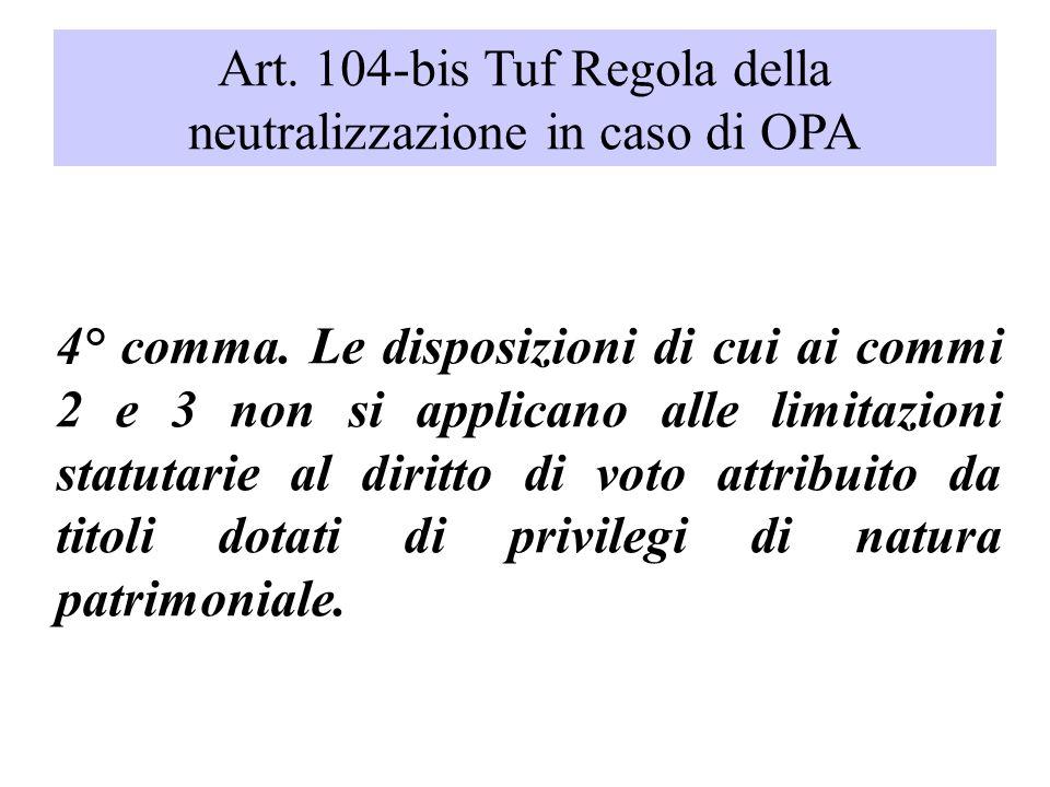 Art. 104-bis Tuf Regola della neutralizzazione in caso di OPA