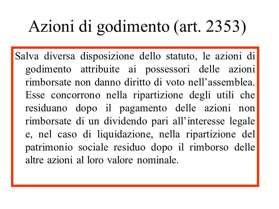 Azioni di godimento (art. 2353)